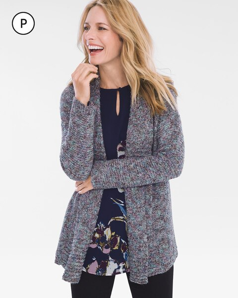 Petite Multi-Colored Cable-Back Cardigan