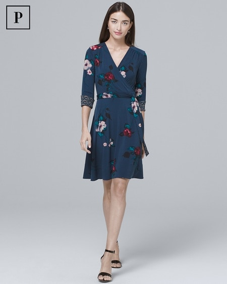14e3b21c Petite Reversible Floral/Geo Print Knit Faux-Wrap Dress
