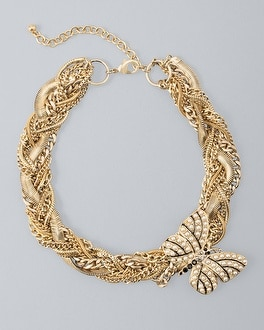 Braided Chain Necklace With Butterfly Brooch by Whbm