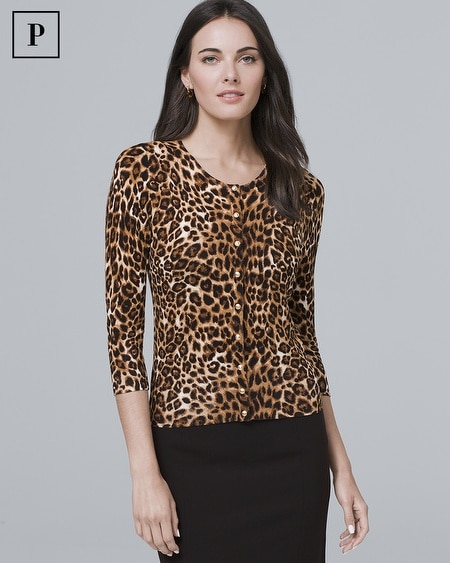 Petite Three Quarter-Sleeve Leopard-Print Cardigan