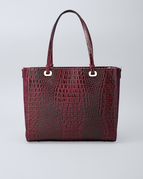 d89696e1fa4401 Croc-Embossed Leather Tote - White House Black Market