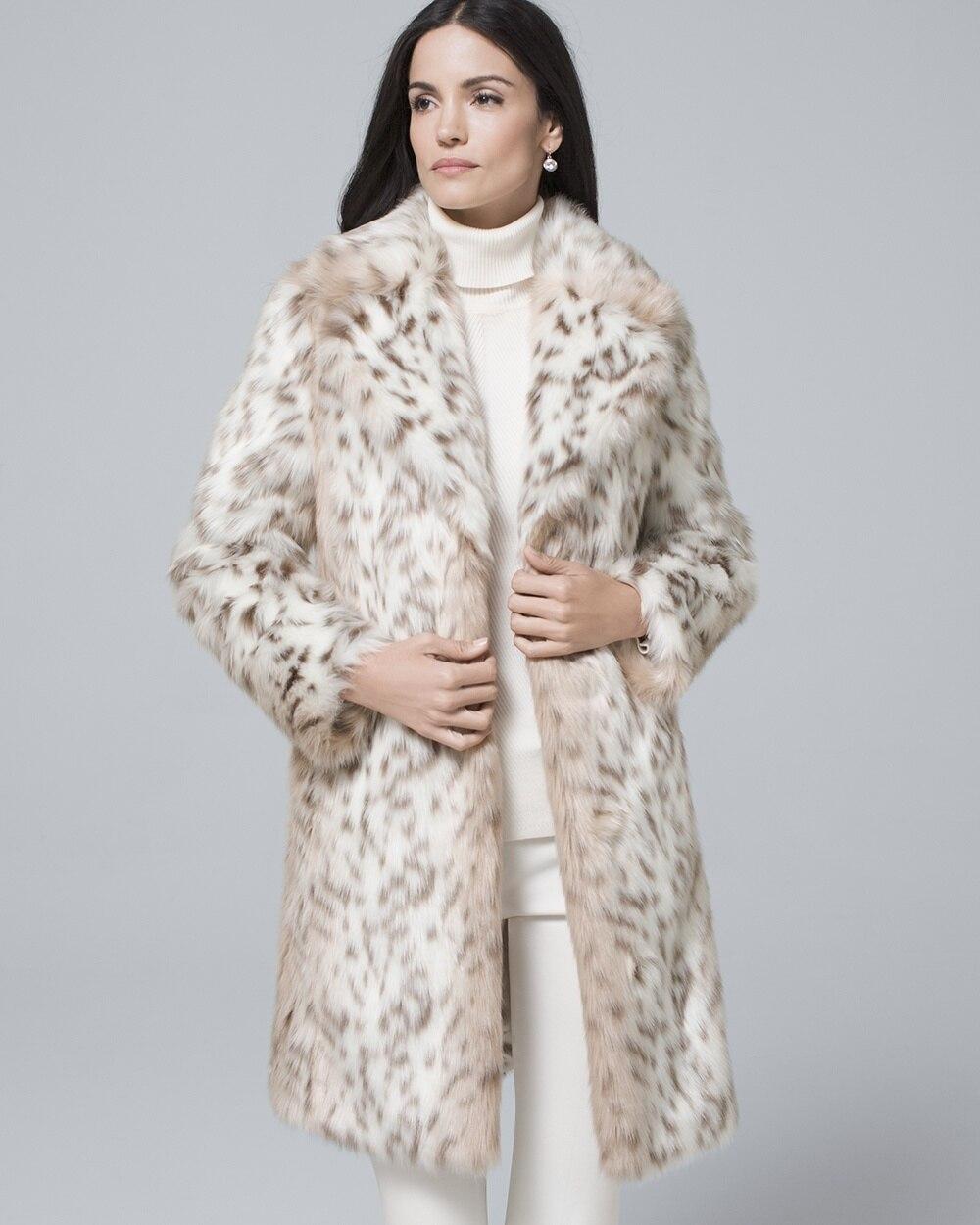 25bedb630ad40 Snow Leopard Faux Fur Coat