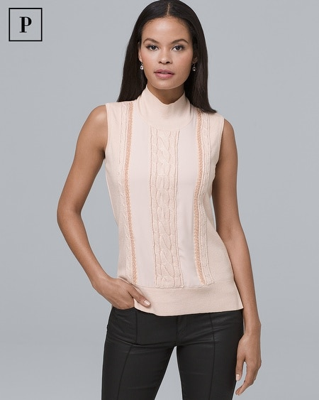 Petite Sleeveless Cable Knit & Beaded-Trim Sweater