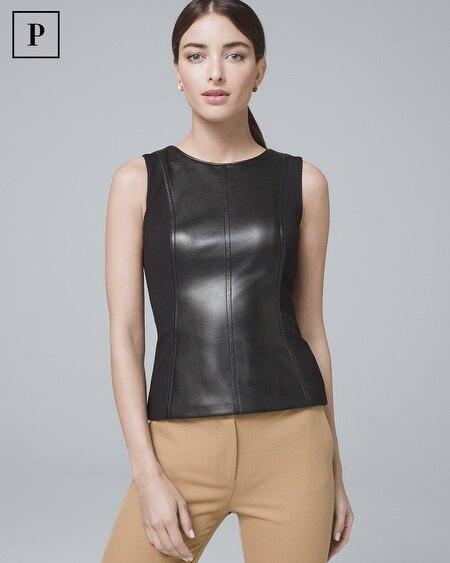 Petite Faux Leather Bodice Top