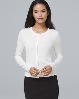 Faux Pearl & Pavé Button Front Cardigan by Whbm