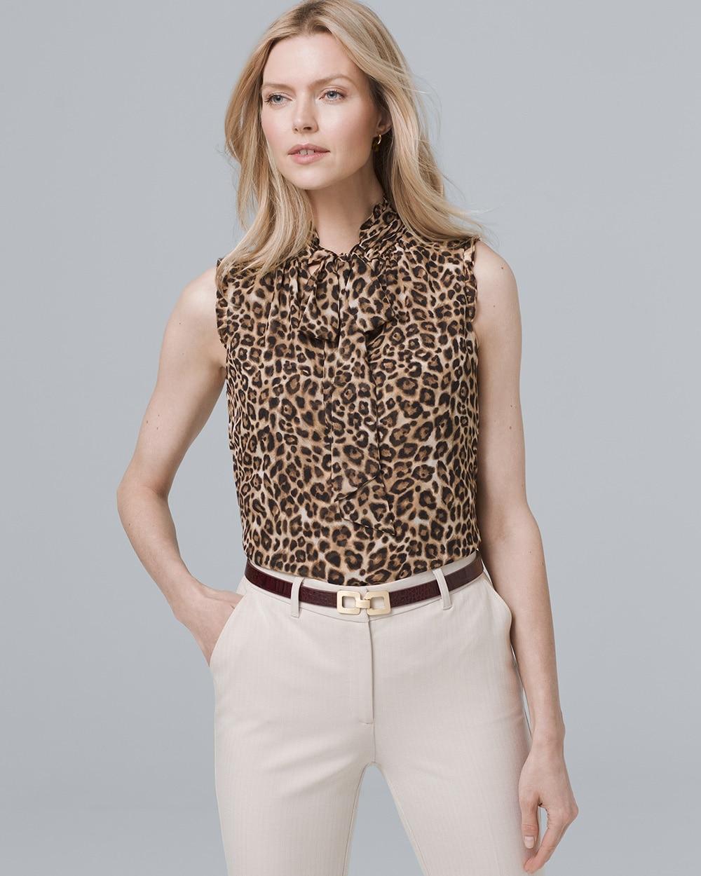 1eb161ea Tie-Neck Leopard-Print Shell - White House Black Market