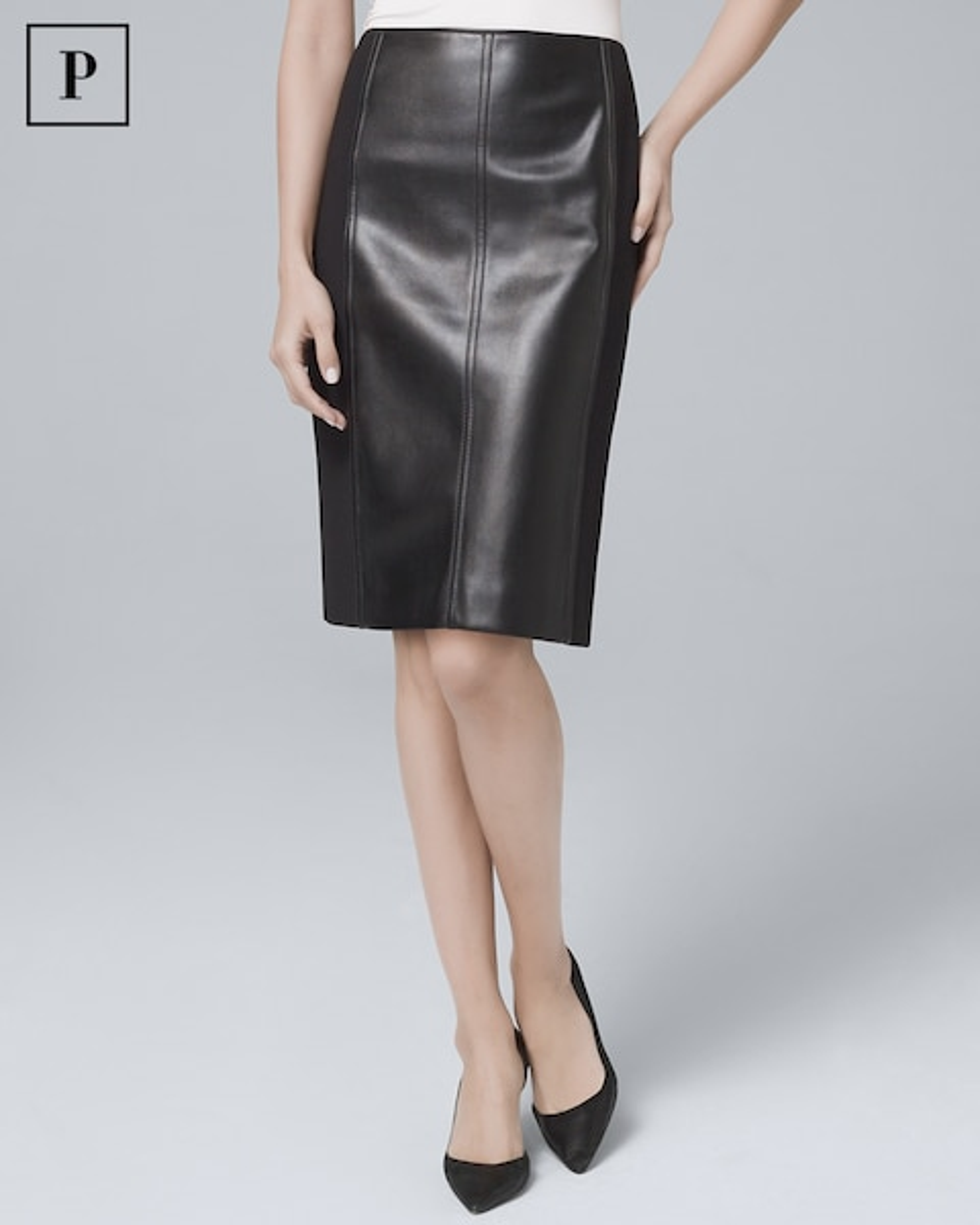 0d224179fd Petite Faux Leather & Ponte Knit Boot Skirt - White House Black Market