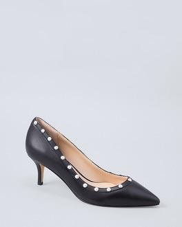 Faux Pearl Trim Leather Kitten Heels by Whbm