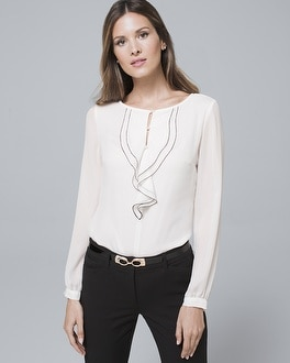 Contrast Ruffle Blouse by Whbm