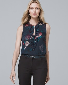 Ruffle Detail Floral Print Shell by Whbm