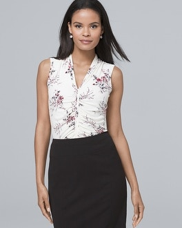 Sleeveless Ruched Floral-Print Top | Tuggl