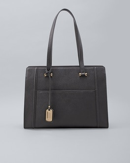 Black Saffiano Leather Tote by Whbm