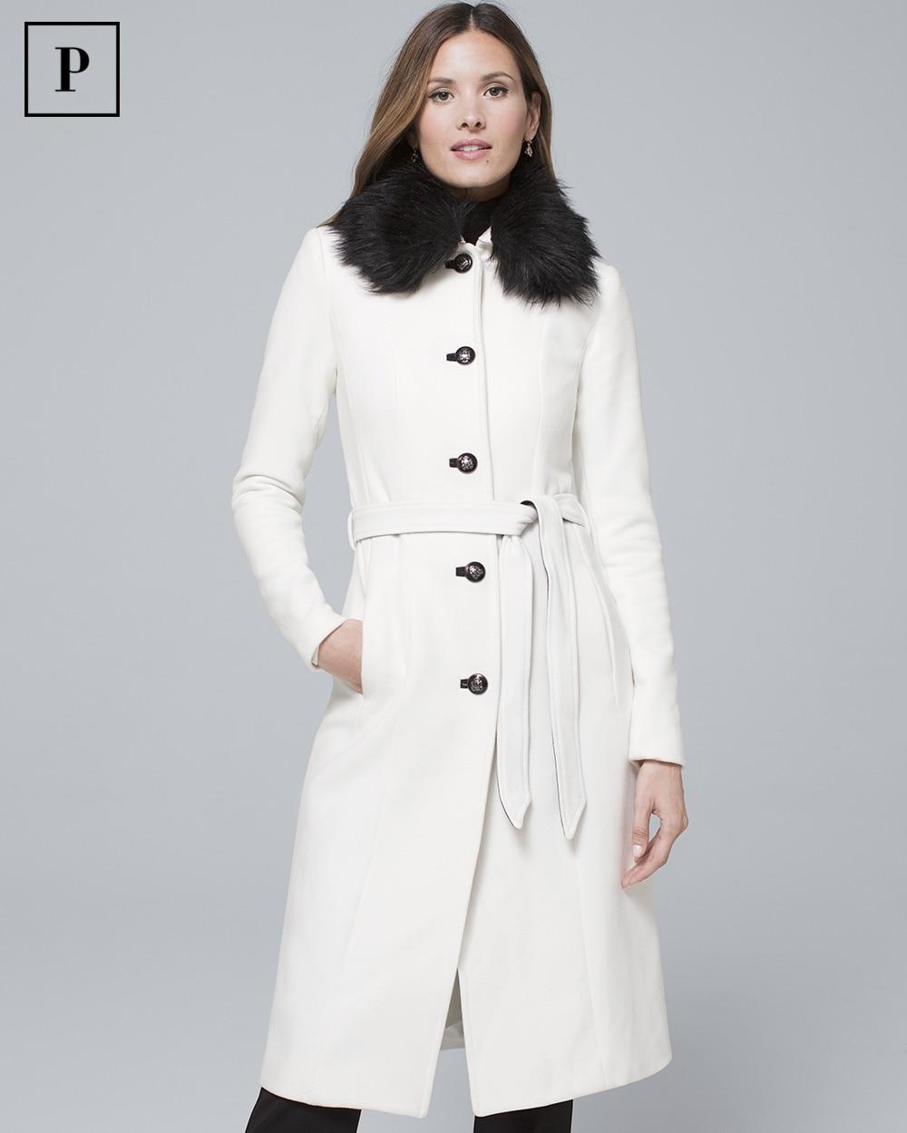 79e91d03573f5 Petite Removable Faux Fur-Collar Coat - White House Black Market