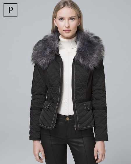 Petite Removable Faux Fur Trim-Collar Quilted Puffer Jacket
