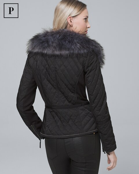 deb641c176e13 Return to thumbnail image selection Petite Removable Faux Fur Trim-Collar  Quilted Puffer Jacket