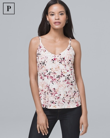 Petite Solid/Floral Woven Cami