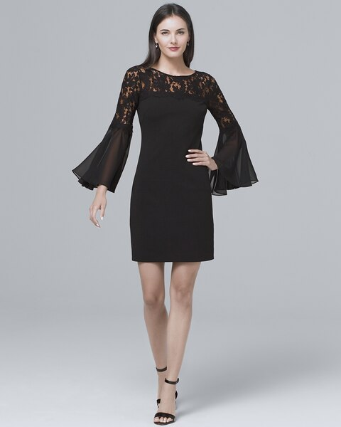 24884ee1 Lace-Yoke Black Sheath Dress - White House Black Market