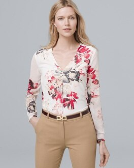 Floral Print Single Pleat Blouse by Whbm