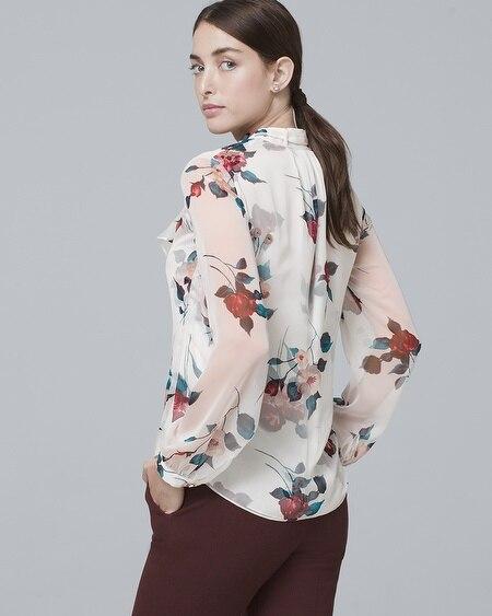 deaa95111ea257 Floral-Print Tie-Neck Blouse