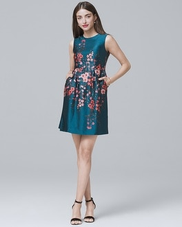 Silk Floral A-Line Dress | Tuggl