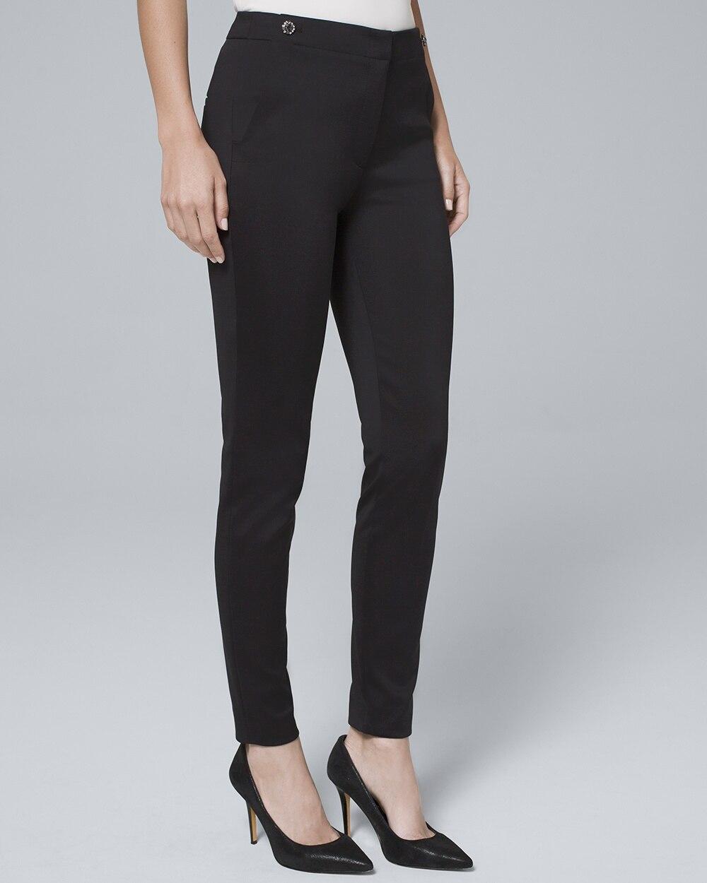 d200e2c4d7591 Embellished-Button Satin Slim Ankle Pants - White House Black Market