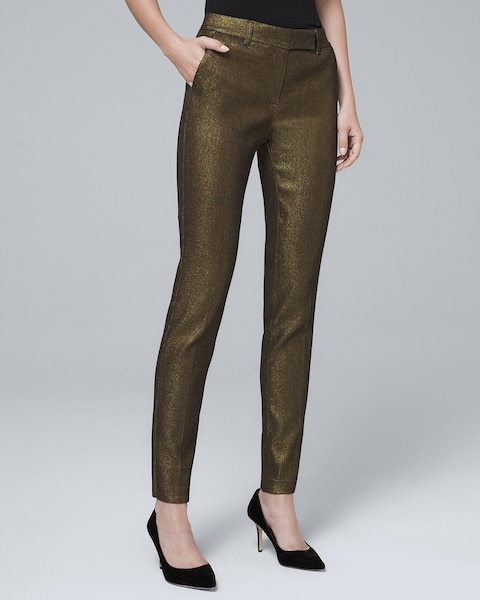 Metallic-Jacquard Slim Ankle Pants