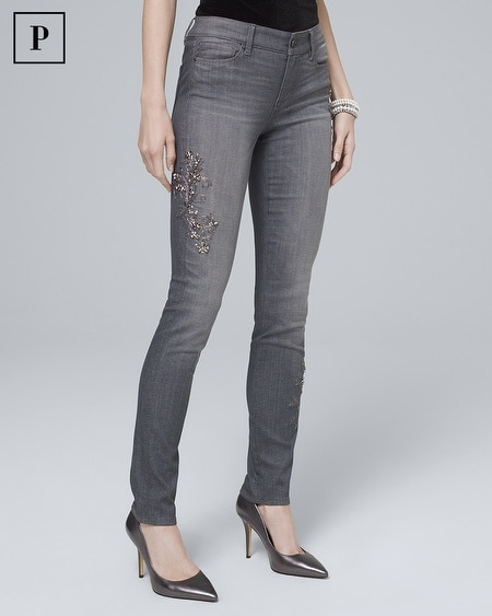 Petite Classic-Rise Scroll-Embellished Slim Jeans