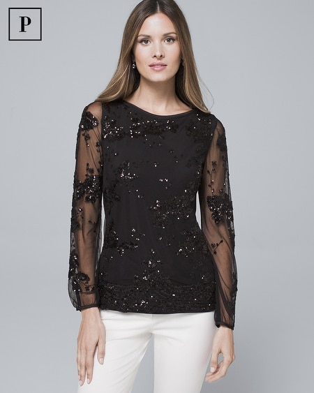 Petite Sequined Flower Blouse