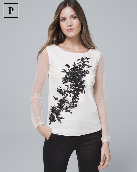 Petite Floral-Print Lace Blouse