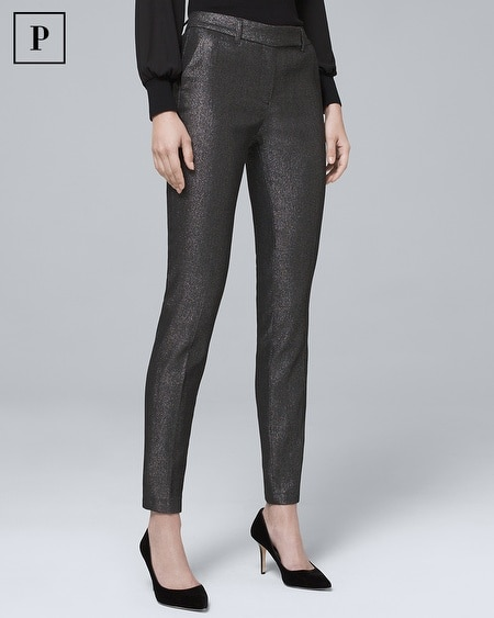 Petite Metallic-Jacquard Slim Ankle Pants