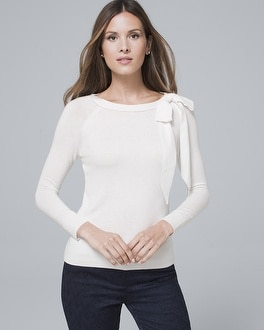 Bow Shoulder Raglan Sweater by Whbm