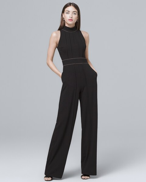 1149981b3c Return to thumbnail image selection Pintucked Black Halter Jumpsuit video  preview image