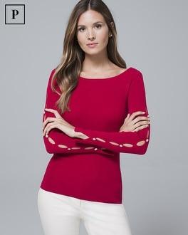 Petite Embellished-Sleeve Sweater | Tuggl