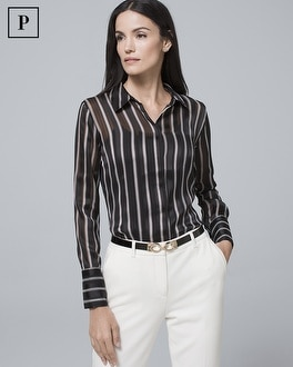 Petite Shadow Stripe Shirt by Whbm