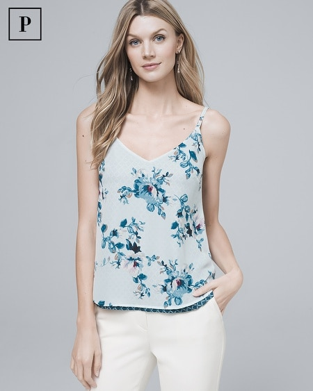 Petite Reversible Floral/Graphic-Print Woven Cami
