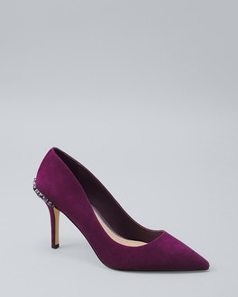 Embellished Detail Suede Pumps by Whbm
