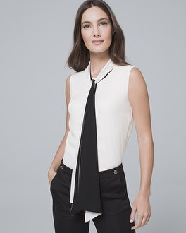 Two-Tone Tie-Neck Shell | Tuggl