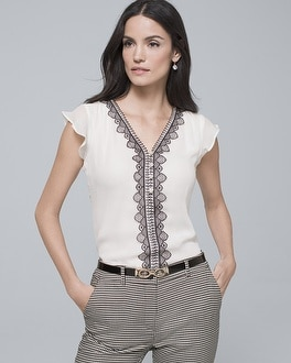 Lace Trim Cap Sleeve Blouse by Whbm