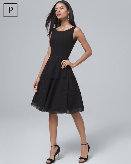Petite Black Tiered Fit-and-Flare Dress