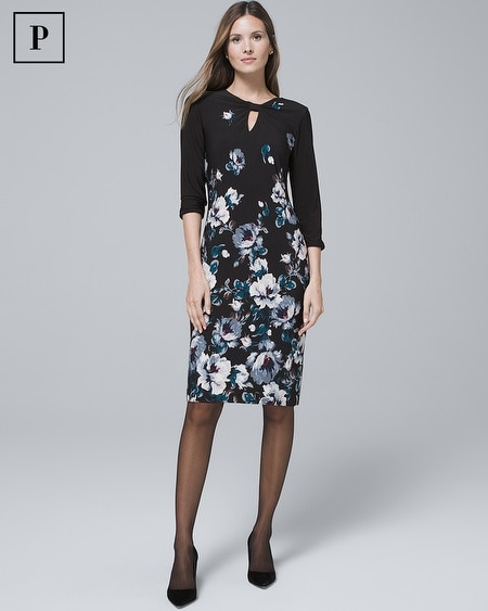 Petite Reversible Floral/Solid Knit Sheath Dress