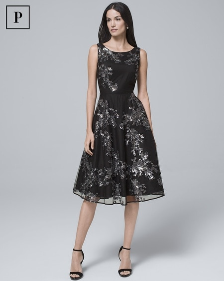 Petite Sequin-Overlay Black Fit-and-Flare Dress