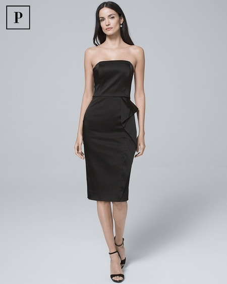 Petite Strapless Black Satin Sheath Dress