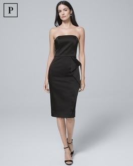 Petite Strapless Black Satin Sheath Dress by Whbm