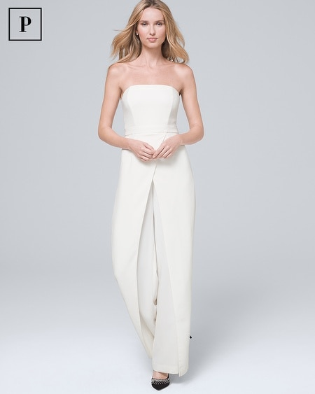Petite Convertible White Strapless Split-Leg Jumpsuit