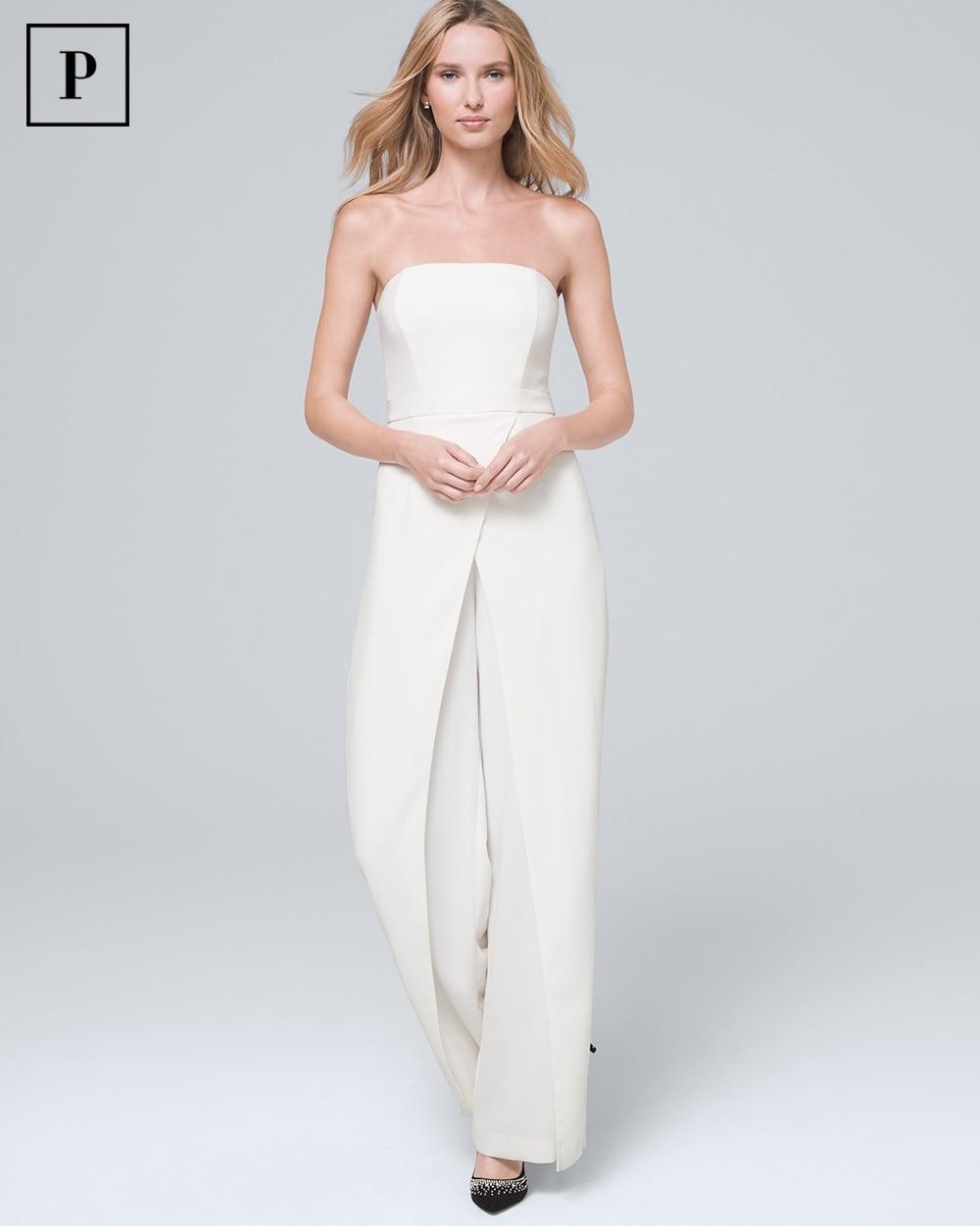 Petite Convertible White Strapless Split Leg Jumpsuit White House