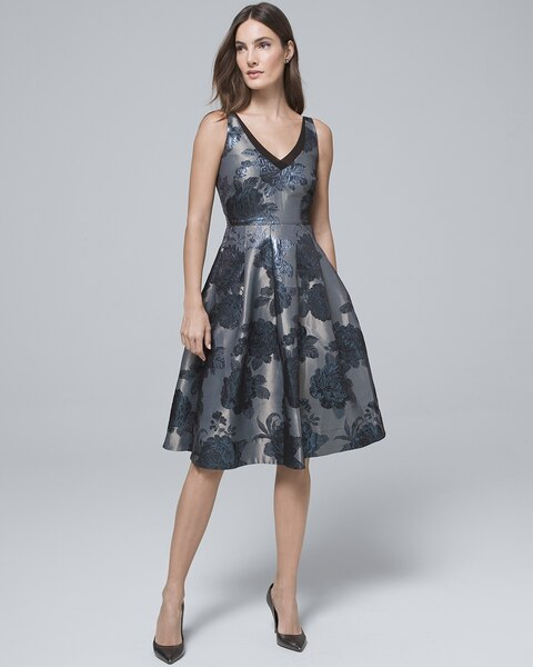 Return to thumbnail image selection Jacquard Fit-and-Flare Dress video  preview image 727c2df2b