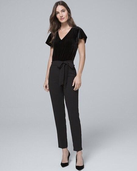b3cb261e252 Black Crepe Wide-Leg Jumpsuit - White House Black Market