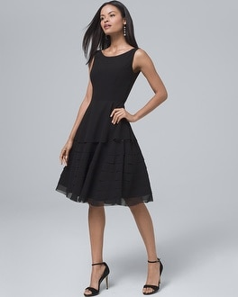 Black Tiered Fit And Flare Dress by Whbm
