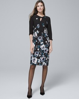 Reversible Floral/Solid Knit Sheath Dress | Tuggl