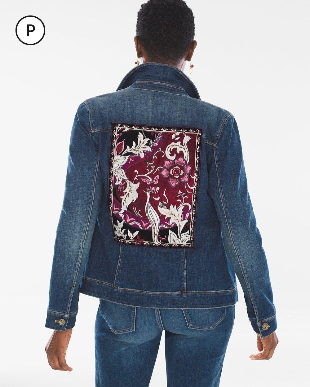 Petite Embroidered Velvet Denim Jacket